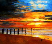 Modern Art - North Sea Sunset 50x60 cm Oil Painting 59765 001
