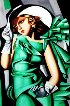 Homage To T. De Lempicka - Girl In Green With Gloves 120x180 cm Reproduction Oil Painting 59769