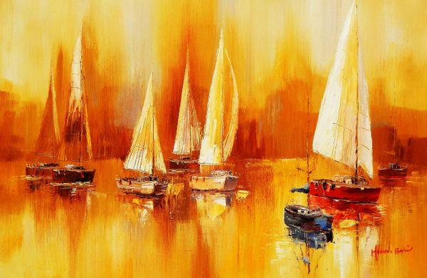 Sailboats On Lake Garda 60x90 cm Oil Painting 59808