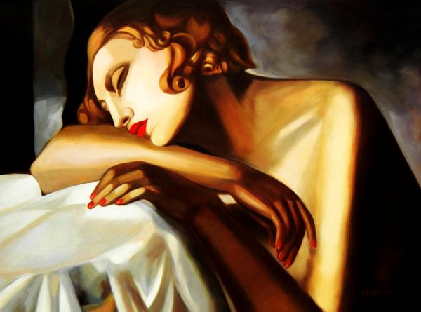 Homage To Tamara De Lempicka - The Sleeper 90x120 cm Reproduction Oil Painting