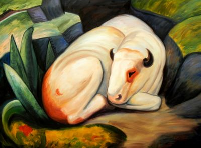 Franz Marc - The White Bull 90x120 cm Reproduction Oil Painting