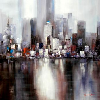 Abstract New York City Manhattan Skyline 120x120 cm Oil Painting Museum Quality