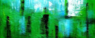 Abstract - Green Pillars 30X72 Oil Painting 59895
