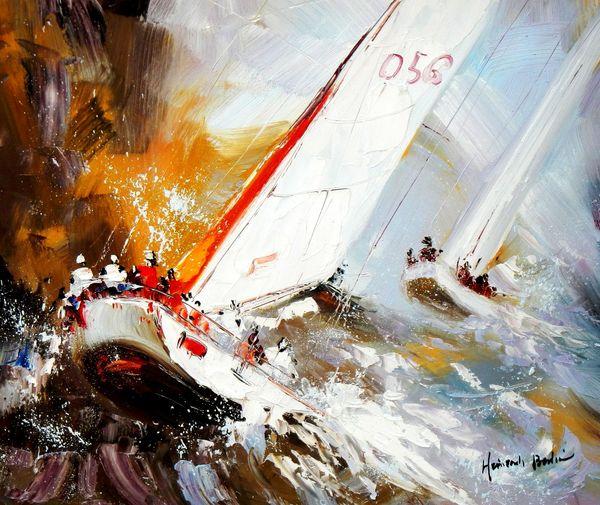 Modern Art - Sailing Regatta 50x60 cm Oil Painting 59908