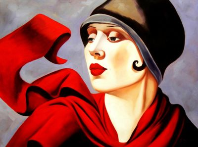 Homage To T. De Lempicka - Woman With Red Scarf 90x120 cm Reproduction Oil Painting