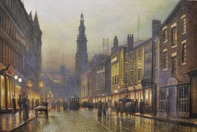 "GRIMSHAW TRINITY CHURCH 20X30 "" OIL PAINTING REPRODUCTION"