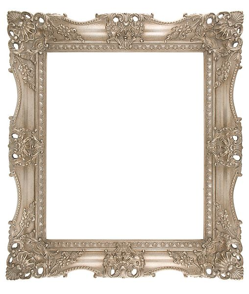 "3.75 "" Ornate Carved Silver (SWEPT) FRAME ""Pearl"""