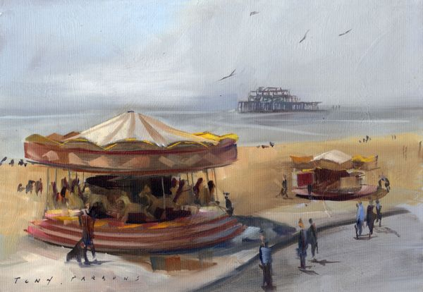 """"""" Caroussel - Framed painting in oil by Tony Parsons"""