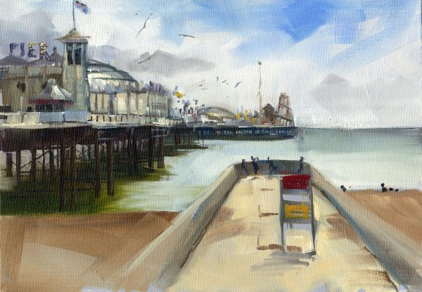 """"""" Brighton Pier - Framed painting in oil by Tony Parsons"""