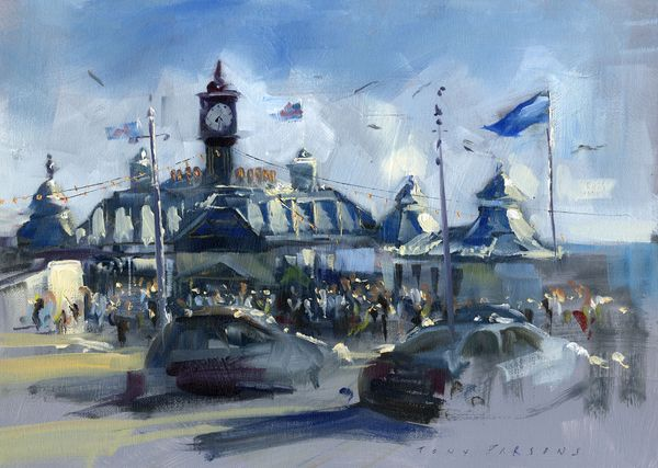 """"""" Brighton Pier Roundabout """" - Framed painting in oil by Tony Parsons"""