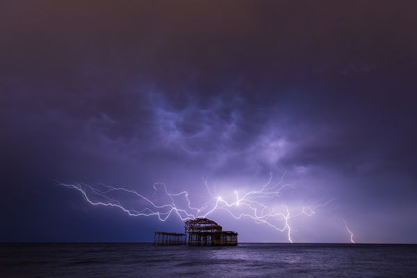 Lightning Over West Pier XII by Max Langran