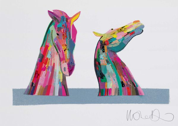 The Kelpies  - Artprint by Ilona Drew from the ' I Drew This '  Landmark Series