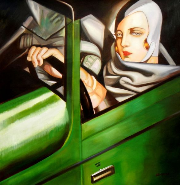 "homage to T. de Lempicka - Tamara in the green Bugatti 36x36 "" oil painting"