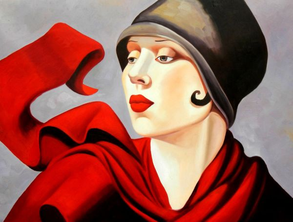 "homage to T. de Lempicka - woman with red scarf 32x44 "" oil painting"