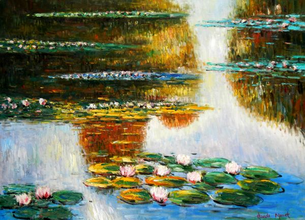 "Claude Monet - Water lilies in the light 32x44 "" oil painting"