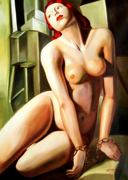 "Homage to Tamara de Lempicka - Andromeda 32x44 "" oil painting"