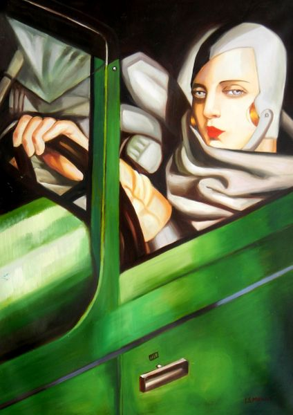 "homage to T. de Lempicka - Tamara in the green Bugatti 32x44 "" oil painting"