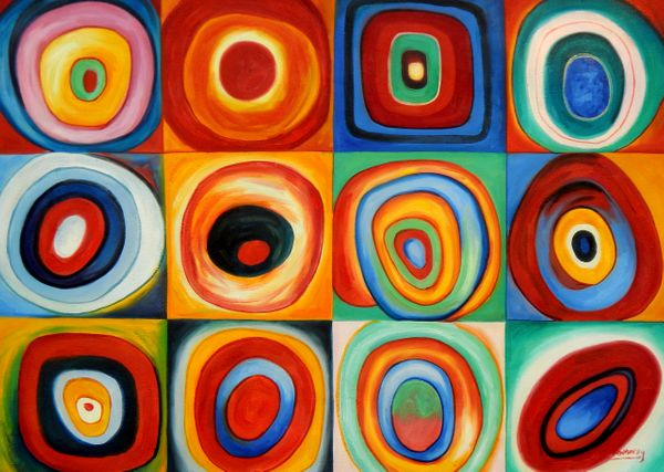 """Wassily Kandinsky - Colour Study: Squares 32x44 """" oil painting"""