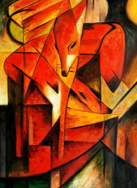 """Franz Marc - Foxes 32x44 """" oil painting"""