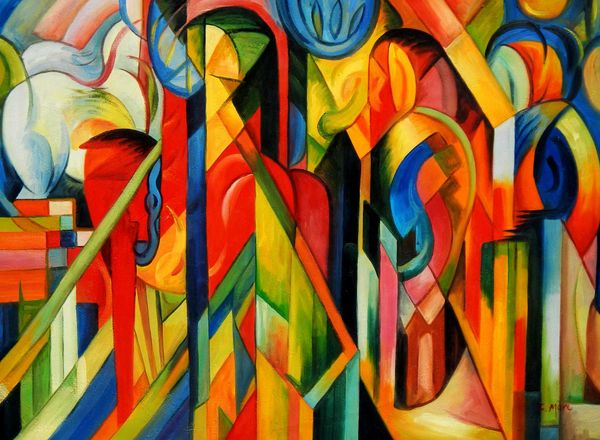 """Franz Marc - Stables 32x44 """" oil painting"""