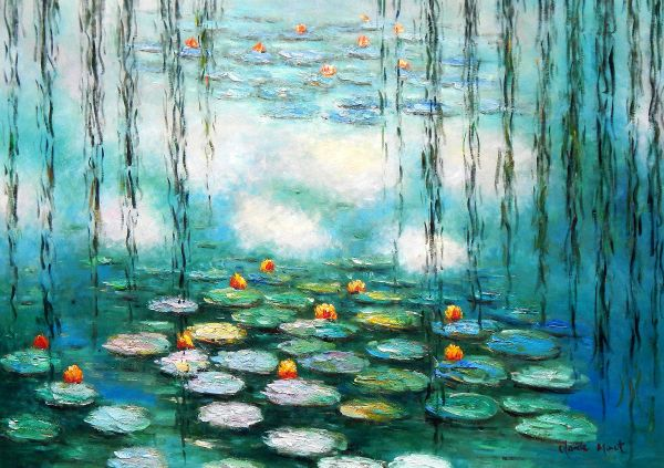 "Claude Monet - Water Lilies & pastures mint green edition 32x44 "" oil painting"