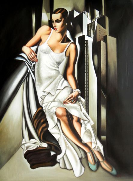 "homage to T. de Lempicka - Portrait of Madame Allan Bott 36x48 "" oil painting"