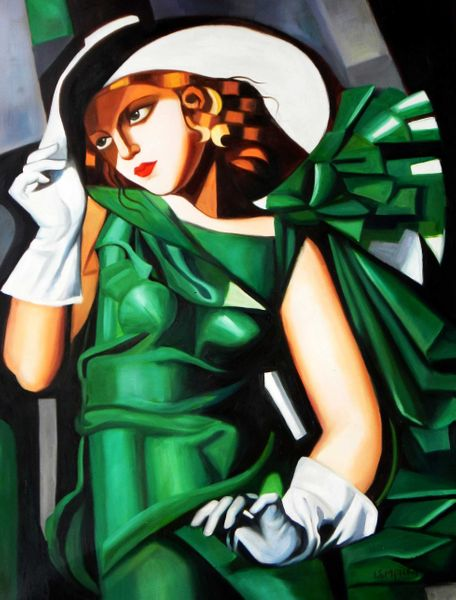 "Homage to T. de Lempicka - Girl in Green with Gloves 36x48 "" oil painting"