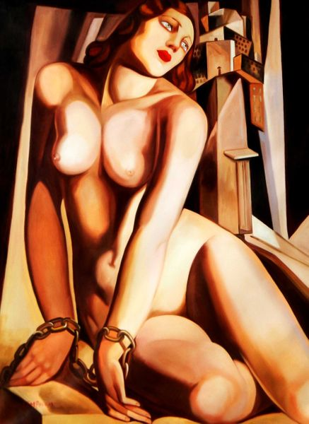 "Homage to Tamara de Lempicka - Andromeda 36x48 "" oil painting"