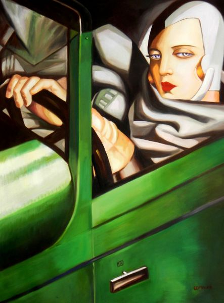 "homage to T. de Lempicka - Tamara in the green Bugatti 36x48 "" oil painting"