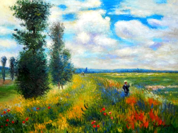 "Claude Monet - Field of Poppies at Argenteuil 36x48 "" oil painting"
