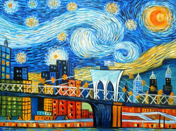 """Vincent v. Gogh - Homage Starry Night New York edition G 36x48 """" oil painting"""