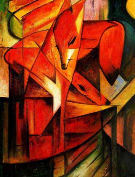 """Franz Marc - Foxes 36x48 """" oil painting"""