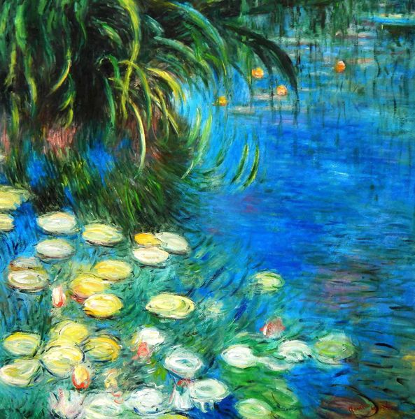 "Claude Monet - Water lilies and reeds 48x48 "" oil painting"