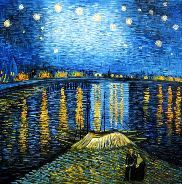 """Vincent van Gogh - Starrynight 48x48 """" oil painting"""