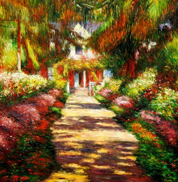 """Claude Monet - Path in Monet's Garden 48x48 """" oil painting"""