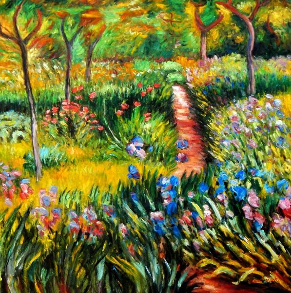 "Claude Monet - Monet's Garden at Giverny 48x48 "" oil painting"