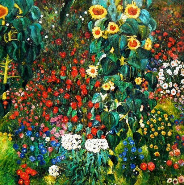 "Gustav Klimt - garden with sunflowers 48x48 "" oil painting"