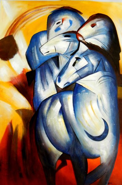 """Franz Marc - tower of blue horses 48x72 """" oil painting"""