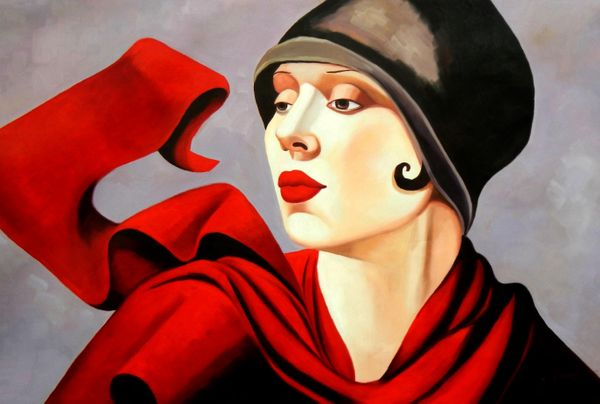 "homage to T. de Lempicka - woman with red scarf 48x72 "" oil painting"