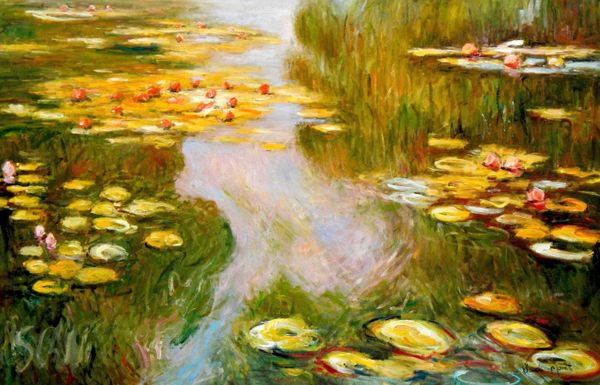 "Claude Monet - Water lilies in the light 48x72 "" oil painting"