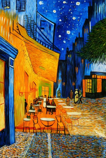 """Vincent van Gogh - Cafe Terrace at Night 48x72 """" oil painting"""