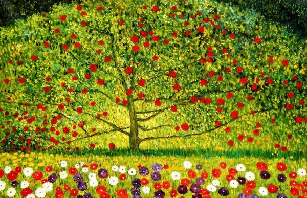"Gustav Klimt - The appletree 48x72 "" oil painting"
