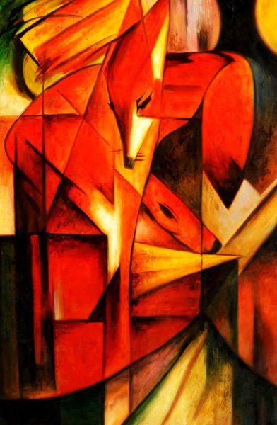 "Franz Marc - Foxes 48x72 "" oil painting"