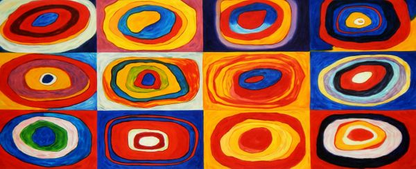 "Wassily Kandinsky - Colour Study: Squares 30x72 "" oil painting"