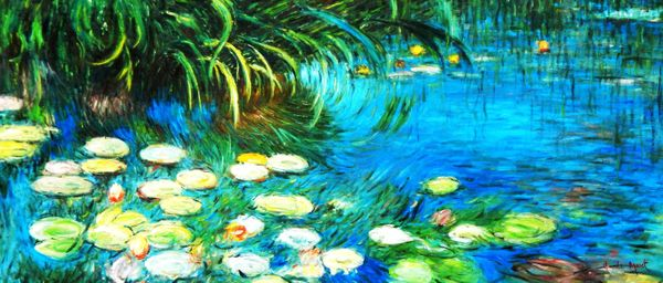 "Claude Monet - Water lilies and reeds 30x72 "" oil painting"