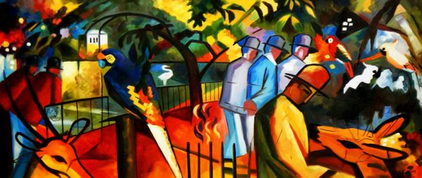 "August Macke - Zoological Garden 30x72 "" oil painting"