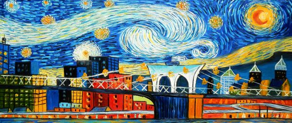 "Vincent v. Gogh - Homage Starry Night New York edition 30x72 "" oil painting"