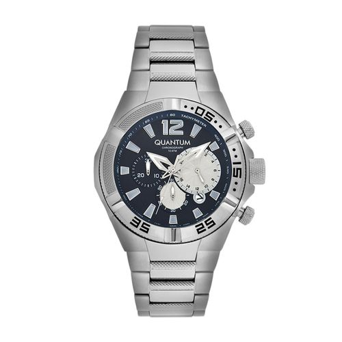 Quantum ADRENALINE, silver/blue,48 mm, steel silver