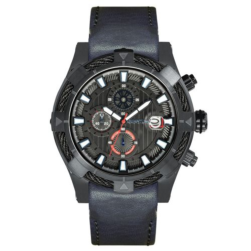 Quantum HUNTER, grey/black, 50 mm mm leather blue