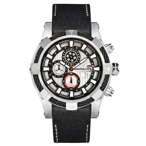 Quantum HUNTER, grey/grey, 50 mm mm leather black with stiches white